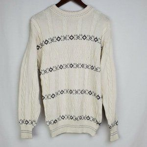 Vintage Grandpa Sweater Ivory Gray Cable Knit Crew